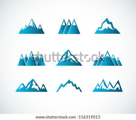 Mountain icons - stock vector