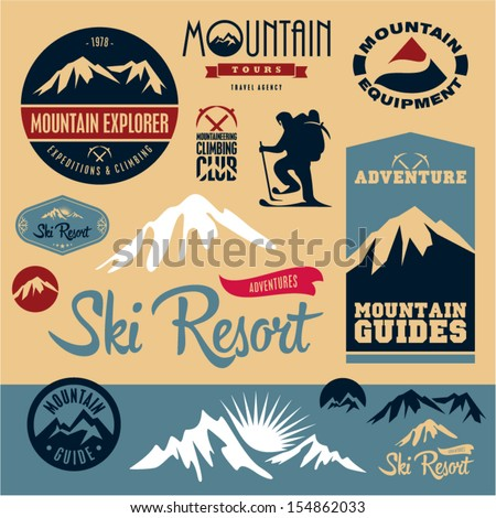Mountain icons set. Mountain climbing. Climber. Ski Resort labels collection. - stock vector