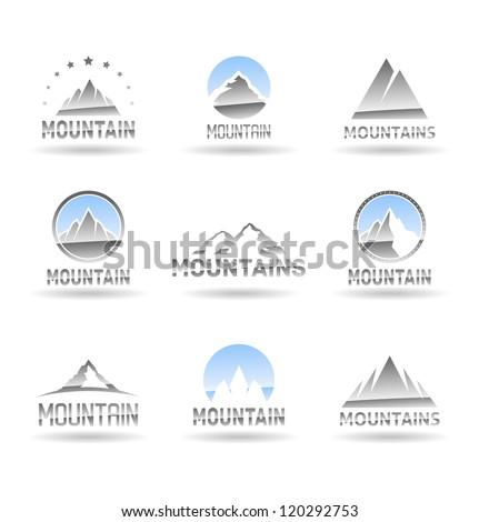 Mountain icons set. Vol 1. - stock vector