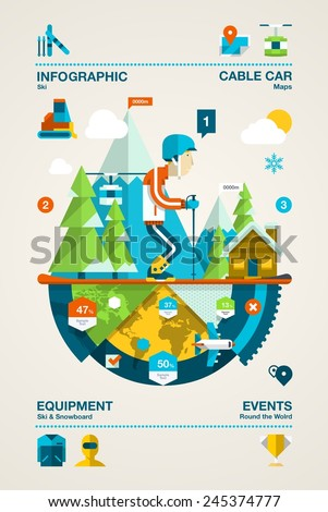 Mountain infographic with ski elements,colourful vector background - stock vector