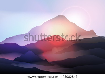 Mountain Landscape at Sunrise - Vector Illustration - stock vector