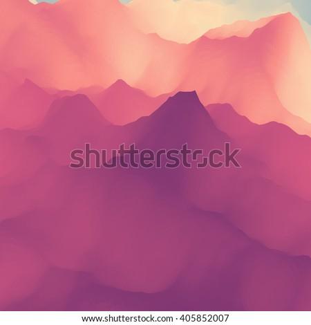 Mountain Landscape. Mountainous Terrain. Vector Silhouettes Of Mountains Backgrounds. - stock vector