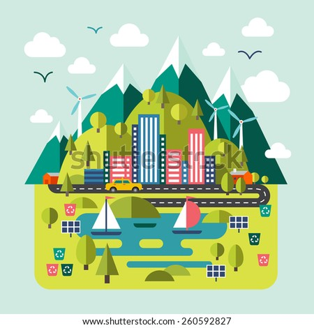 Mountain landscape nature, river, environmentally friendly cities. Flat style vector - stock vector