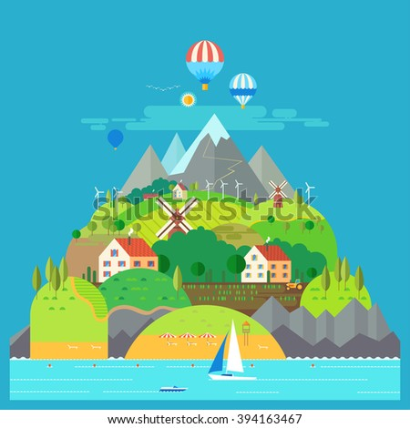 Mountain landscape. The hotel is in the mountains. Mountain Lake. Ballooning. Mountain Trail. Ecological holidays. Sailboat in the sea. The development of agriculture. - stock vector