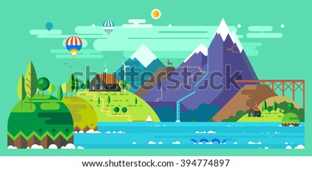Mountain landscape. The hotel is in the mountains. Mountain Lake. Ballooning. The monster in the lake. Mountain Trail. Ecological holidays. - stock vector