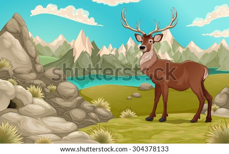 Mountain landscape with deer. Vector cartoon illustration - stock vector