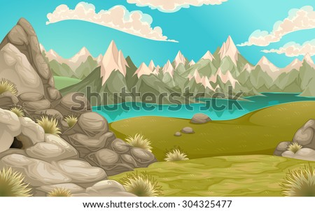 Mountain landscape with lake. Vector cartoon illustration - stock vector
