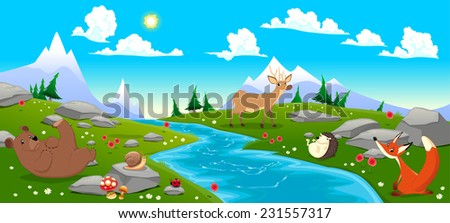 Mountain landscape with river and animals. Cartoon and vector illustration - stock vector