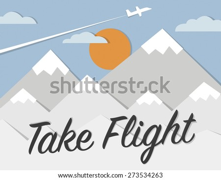 Mountain landscape with setting sun, clouds and plane - stock vector