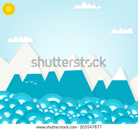 mountain landscapes - stock vector