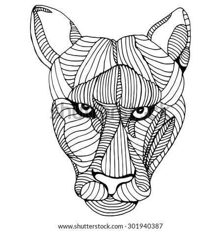 Mountain lion head illustration - stock vector