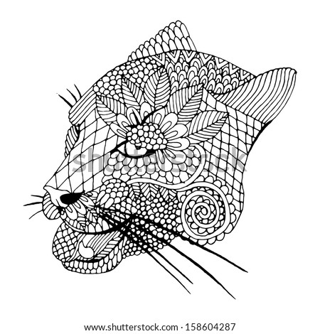 Mountain lion head with embroidery decoration  - stock vector