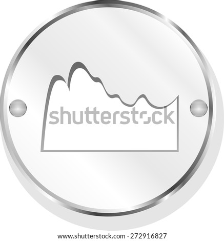 mountain on glossy web icon isolated on white background  vector  - stock vector