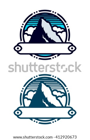 Mountain peak symbol with banner. There is two variants in one and in four colors. - stock vector