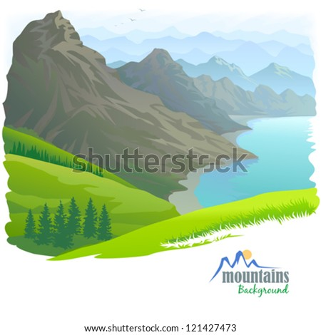 Mountain Range , River and Green Valley - stock vector