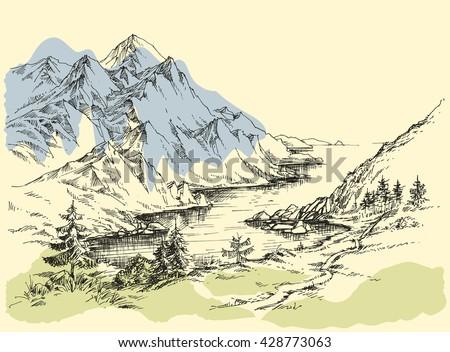 Mountain river - stock vector