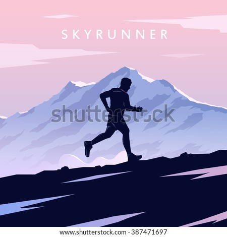 Mountain Running. Mountain Run. Runner silhouette. Running man. Vector running. Vector runner. Skyrunning poster. Extreme sports. Vector Mountain landscape. Outdoor sports. Hiking. #3 - stock vector