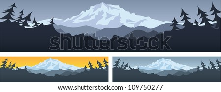 Mountain Scene (Mountain scene banner with room for text) - stock vector