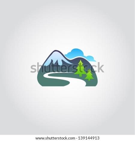 Mountain tourism icon, vector illustration, design element - stock vector