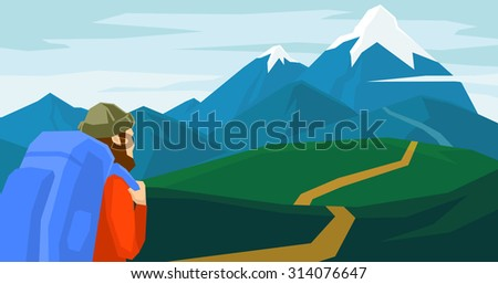 Mountain trip. - stock vector
