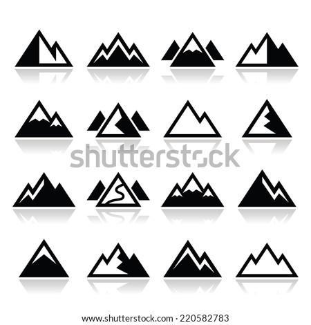 Mountain vector icons set  - stock vector