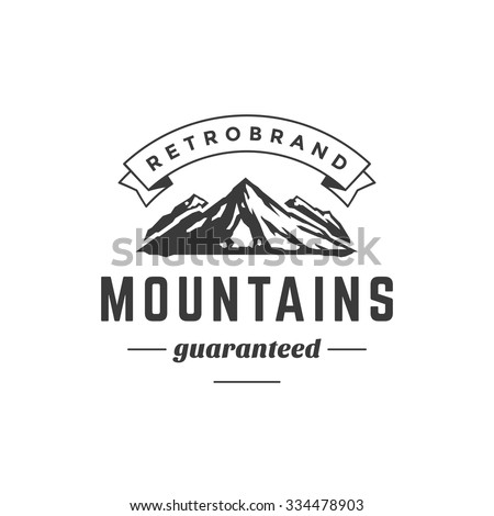 Mountain Vintage Logo Template Emblem. High Rock Silhouette. Label or Badge for Advertising, Adventure  Equipment and other Design. Retro Style Vector Illustration.  - stock vector