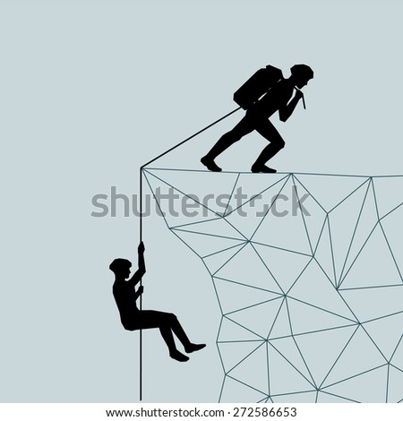 Mountaineer pulls a rope raises man of the mountains. Please help. Salvation. Lifeguard. Vector illustration scale of any size. All elements are grouped. - stock vector