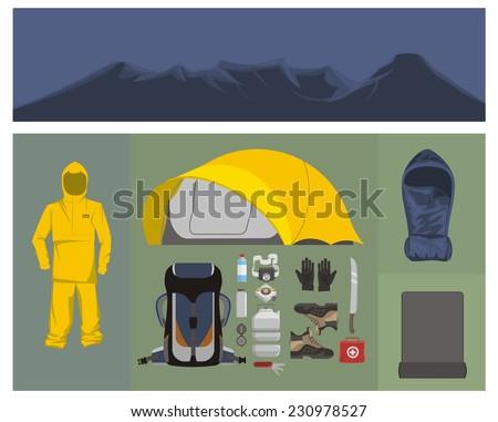 mountaineering equipments - stock vector