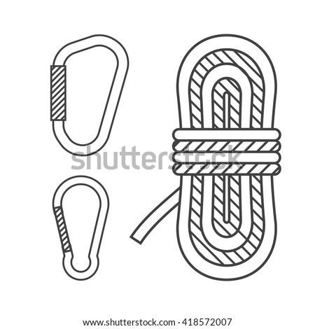 Mountaineering vector outline icons. Climbing rope and carabiners in thin line design. Alpinism equipment collection isolated on white background - stock vector