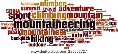 Mountaineering word cloud concept. Vector illustration - stock vector