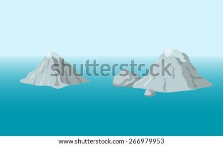 mountainous island in the ocean, vector illustration  - stock vector