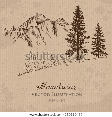 Mountains and Fir Tree. Hand drawn Vector Illustration - stock vector