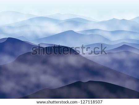 Mountains in fog. Vector illustration - stock vector