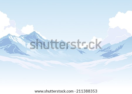 Mountains in the background of the sky with clouds - stock vector