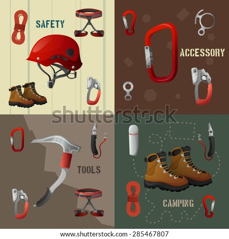 Mountains peaks climbing 4 flat icons composition poster with camping safety accessories tools abstract isolated vector illustrations - stock vector