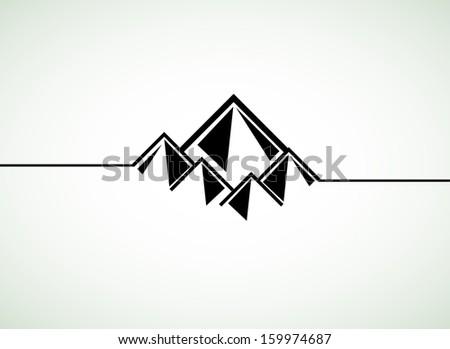 Mountains retro vector background - stock vector