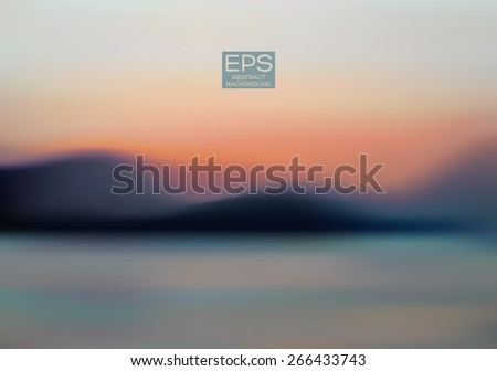 Mountains sea sky. Vector art. Illustration of soft colored abstract background. Web and mobile interface template. Travel corporate website design. Minimalistic backdrop.Editable. Blurred. Landscape - stock vector