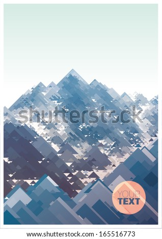 Mountains, vector geometric illustration consisting of triangles - stock vector