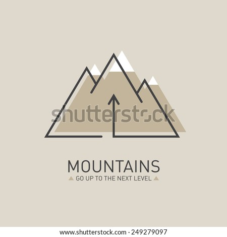 Mountains, Vector logo in line style. Mono line logotype template with up arrow and snow-capped mountains in the background - stock vector