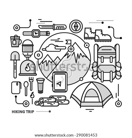 Mountains with snow peaks and tourist equipment. Hiking trip. Mountaineering. Travel. Thin, lines, outline icons for web design, analytics, graphic design and in flat design - stock vector