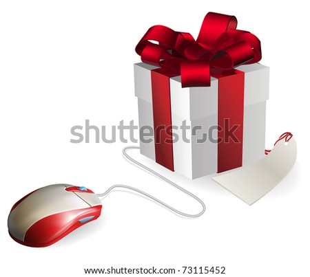 Mouse attached to a gift concept. Buying gifts by online shopping or being given gifts for surfing the web or buying online. - stock vector