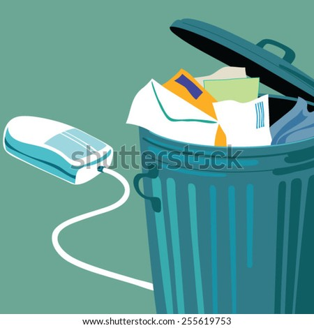 Mouse coming out of trash can - stock vector