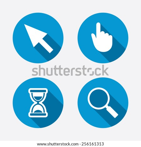 Mouse cursor and hand pointer icons. Hourglass and magnifier glass navigation sign symbols. Circle concept web buttons. Vector - stock vector