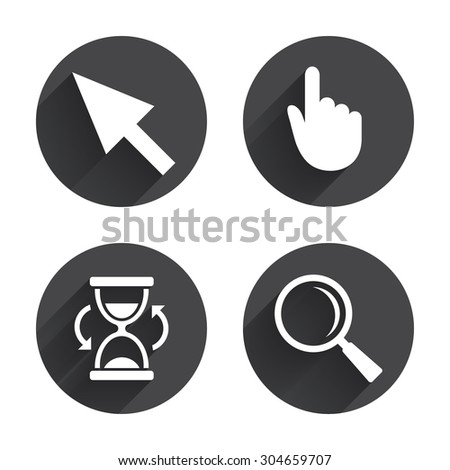 Mouse cursor and hand pointer icons. Hourglass and magnifier glass navigation sign symbols. Circles buttons with long flat shadow. Vector - stock vector