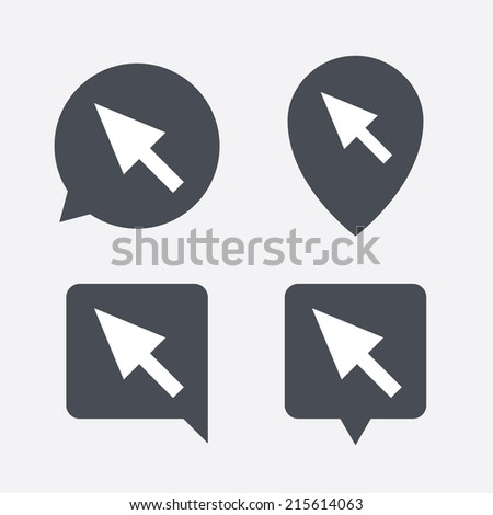 Mouse cursor sign icon. Pointer symbol. Map pointers information buttons. Speech bubbles with icons. Vector - stock vector