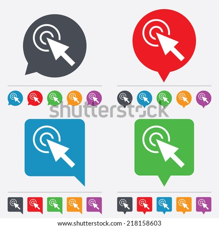 Mouse cursor sign icon. Pointer symbol. Speech bubbles information icons. 24 colored buttons. Vector - stock vector