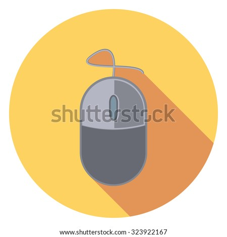 mouse flat icon in circle - stock vector