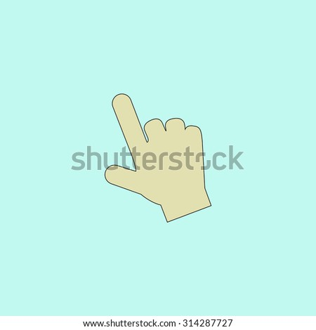 Mouse hand cursor. Flat simple line icon. Retro color modern vector illustration pictogram. Collection concept symbol for infographic, logo and project - stock vector