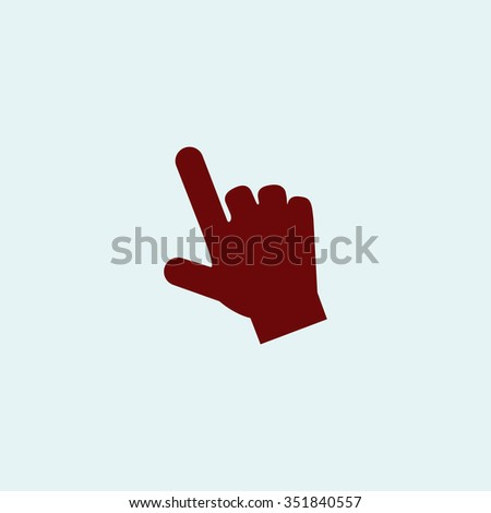 Mouse hand cursor. Red vector icon. Simple modern illustration pictogram. Collection concept symbol for infographic project and logo - stock vector