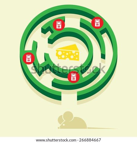mouse in a maze in search of cheese - stock vector